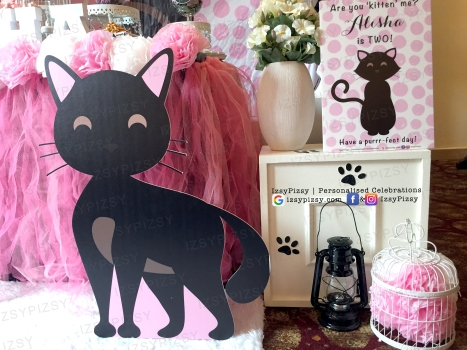 alisha anugerah anak alif satar birthday party theme black cute cat kucing standee cut out dessert table decoration candy buffet cake flower welcome board flower box bird cage malaysia p