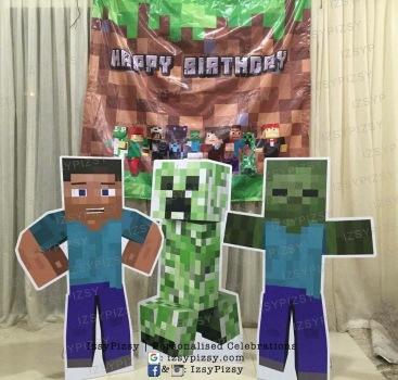 minecraft-backdrop-banner-birthday-party-planner-ideas-game-sewa-rent-malaysia-murah-doorgift-steve-creeper-zombie-standee