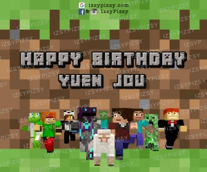 minecraft backdrop banner birthday party planner ideas game sewa rent malaysia murah doorgift steve creeper zombie