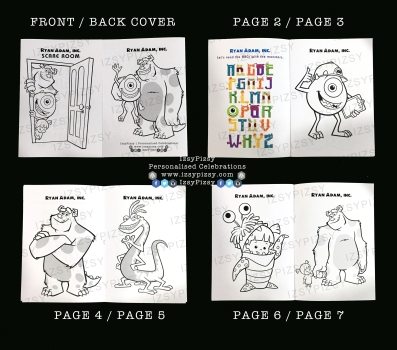 monster inc university mike wazowski james sullivan sulley boo colouring activity games sheet book birthday party pack goodie bag supply malaysia