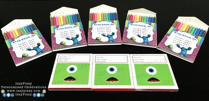 monster inc university mike wazowski james sullivan sulley boo colouring pencil crayon stationery set activity games sheet book birthday party pack goodie bag supply malaysia