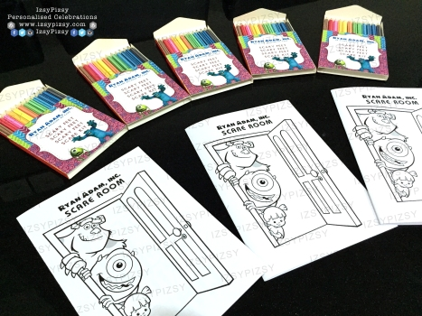 monster inc university mike wazowski james sullivan sulley boo colouring set crayon pencil activity games sheet book birthday party pack goodie bag supply malaysia