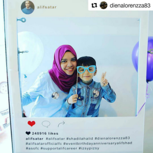 alif-satar-selamanya-cinta-suri-hati-mr-pilot-official-launch-sign-card-fattah-amin-neelofa-warda-ejaz-anak-baby-birthday-anniversary-candy-buffet-balloon-malaysia-blue-purple-theme-photobooth-prop-in