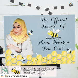 niena-baharun-honeybee-teman-pengganti-sayangku-kapten-mukhriz-raja-afiq-bumble-bee-theme-yellow-black-malaysia-party-event-planner-poster-signing-card-official-launch-instagram-fan-club